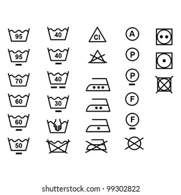 The symbols for the care of clothing