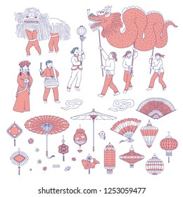 Symbols Chinese New year people in traditional costumes. Vector line art set lanterns talismans for holiday home decoration. National celebration parade and symbols of China culture.
