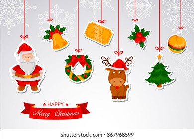 Symbols of Christmas as christmas sphere, christmas tree, bell, christmas wreath, reindeer, christmas card, santa claus and mistletoe on paper web hanging