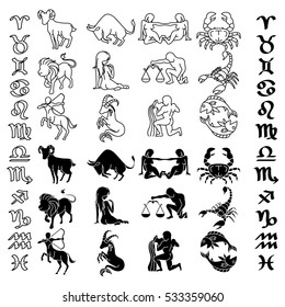 Symbols collection of Zodiac and horoscope, astrology and mystic signs, vector art and illustration.