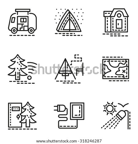 Symbols Comfort Camping Flat Line Style Stock Vector Royalty Free