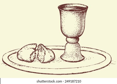 Symbols of Communion: broken bread and wine in bowl. Vector monochrome freehand sketchy linear drawn background in doodle style pen on paper with space for text