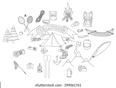 Symbols and drawings of infographics of an outdoor recreation with tent. Things which are necessary for tourism and a camping.