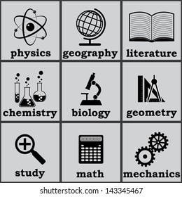 symbols of education. vector icons set. eps8