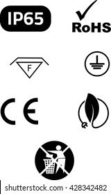 Symbols of electrical safety and environmental protection in vector.