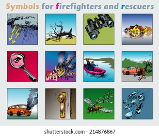 Symbols for firefighters and rescuers