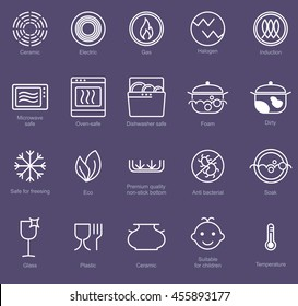 Symbols of food grade metal indicate properties and destination of a metallic utensil. Properties of dishes. Pottery symbols. Kitchen icon set. Thine line icons.