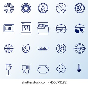 Symbols of food grade metal indicate properties and destination of a metallic utensil. Properties of dishes. Pottery symbols
