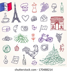 Symbols of France as funky doodles: Tower,  bistro, champagne, coffee, croissant, cock, wine, cheese, bike, camera