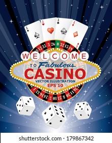 symbols of gambling with Las Vegas sign, vector illustration