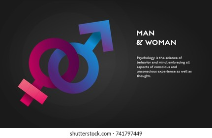 Symbols of gender concept vector flat poster design. Venus and Mars signs illustration with place for text