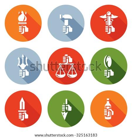Symbols Gods Greek Mythology Icons Set Stock Vector Royalty Free