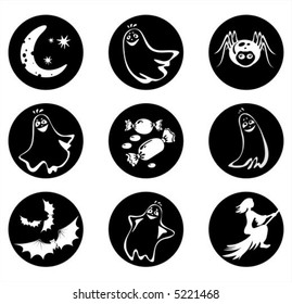 Symbols of a Halloween: ghosts, a spider, sweets, bats, the moon and a witch.