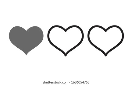 Symbols, icons, heart-shaped vector, on a white background