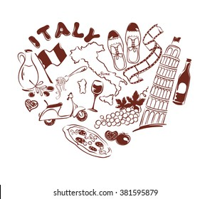 Symbols of Italy in the form of heart, vector illustration