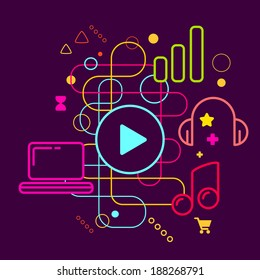 Symbols of listening to music on the computer on abstract colorful dark background with different icons and elements. Line art.