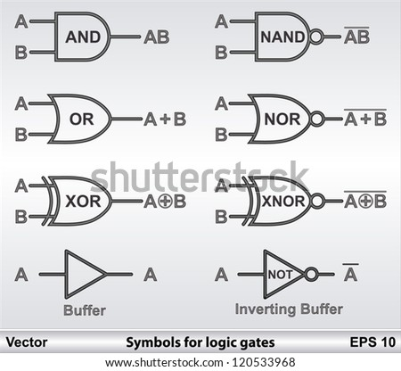 Symbols Logic Gates Stock Vector Royalty Free 120533968 Shutterstock