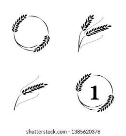 Symbols for logo design Wheat. Agriculture, corn, barley, stalks, organic plants, bread, food natural harvest