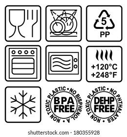Symbols for marking plastic dishes. Signs to indicate properties of a plastic dishes, tableware, dinnerware.