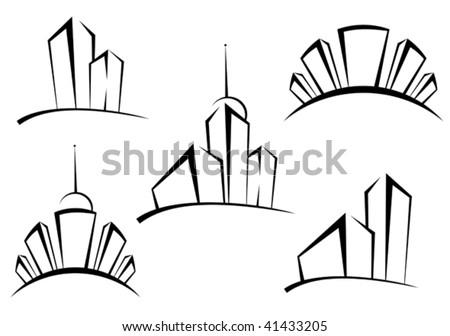 Symbols Modern Buildings Design Real Estate Stock Vector Royalty