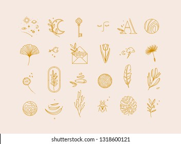 Symbols in modern minimalist style drawing on beige background.