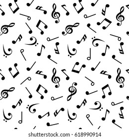 Symbols of Music. Sixteenth, Eighth, quarter and half note with treble and bass clef