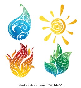 Symbols of nature: sun, leaf, water and fire