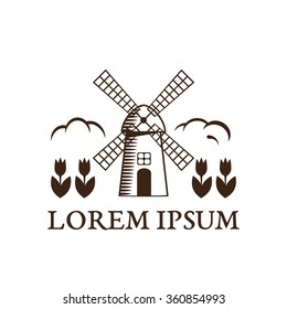 symbols of Netherlands and Amsterdam: tulips and mill in graphic style. vector illustration