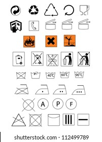 Symbols for  packaging,hazard and textile care