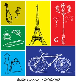 Фотообои Symbols of Paris in a colored rectangle, hand drawing, vector illustration