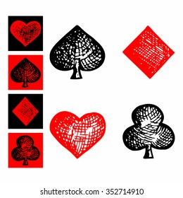 symbols of playing cards, suit icon, doodle style, sketch illustration, hand drawn, vector