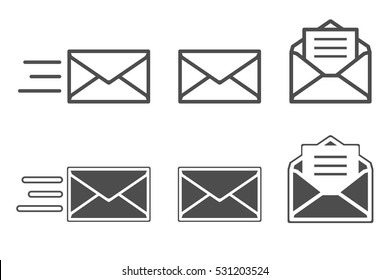 Symbols of receiving mail, opening envelope and reading messages.