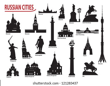 Symbols of Russian cities. Vector set