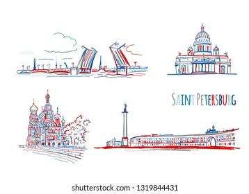 Symbols of Saint Petersburg, Russia. Sketch for your design