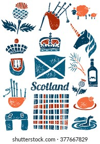 Symbols of Scotland, St. Andrew symbols and plaid. Vector set in lino style