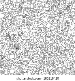 Symbols seamless pattern in black and white (repeated) with mini doodle drawings (icons). Illustration is in eps8 vector mode.