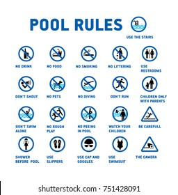 Symbols set for swimming pool.