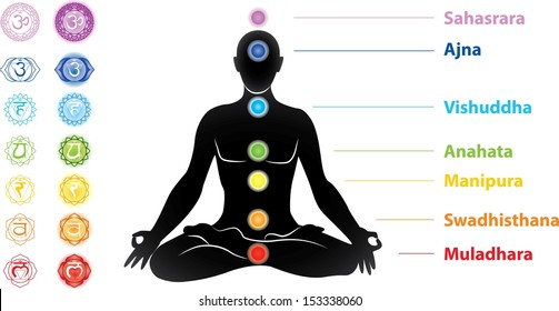 Symbols of seven chakras and man silhouette vector
