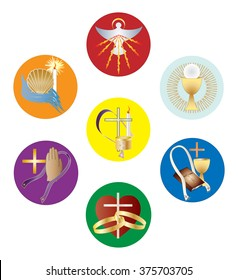 Symbols of the seven sacraments of the Catholic Church. Color vector illustration, separated for easy use.
