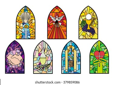 Symbols of the seven sacraments of the Catholic Church on stained glass windows. Color vector illustration, separated for easy use.