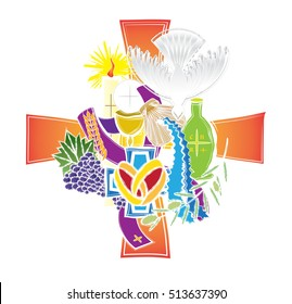 Symbols of the seven sacraments of the Catholic Church. Abstract artistic modern color vector religious illustration.