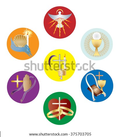 Symbols Seven Sacraments Catholic Church Color Stock Vector Royalty