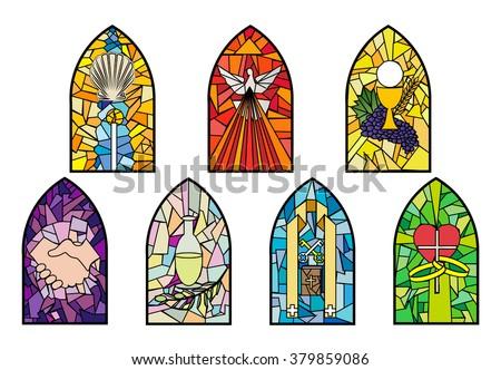 symbols seven sacraments catholic church on stock vector royalty