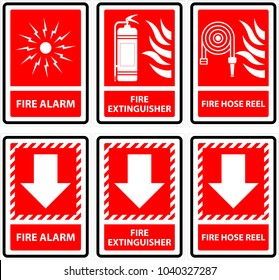 Symbols sign for fire alarm,fire extinguisher, fire hose reel.