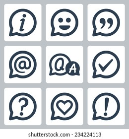 Symbols in speech bubbles vector icon set: info, smile, quotation, e-mail, FAQ, checkmark, question mark, heart, exclamation mark