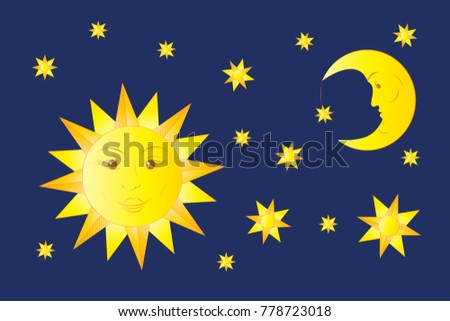 Symbols Sun Moon Star Isolated On Stock Vector Royalty Free