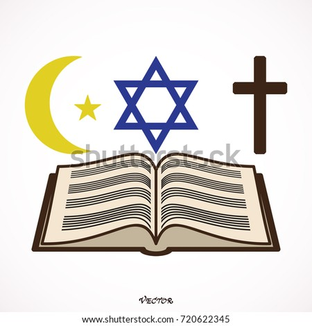 Symbols Three World Religions Judaism Christianity Stock Vector