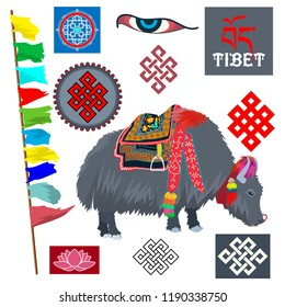 Symbols of Tibet. Vector illustration depicting yak and different symbols of Tibet.