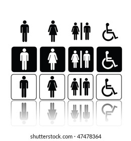 symbols for toilet, washroom, restroom, lavatory.