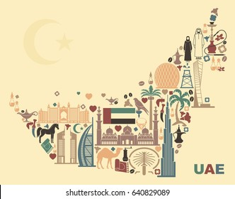 Symbols Of The United Arab Emirates in form the map.